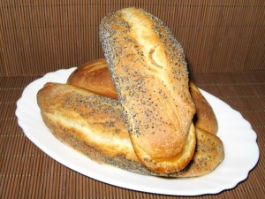 baguettes from white flour with poppy-seeds